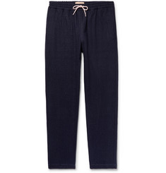 De Bonne Facture - Tapered Pinstriped Cotton and Wool-Blend Drawstring Trousers