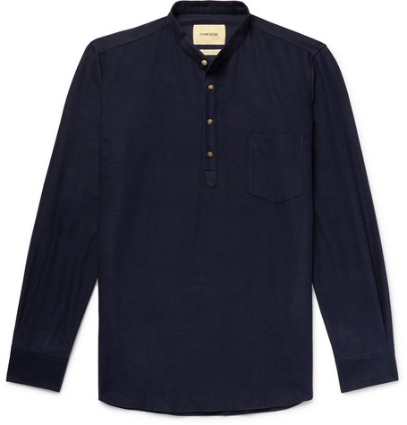 Grandad Collar Cotton Flannel Shirt by De Bonne Facture