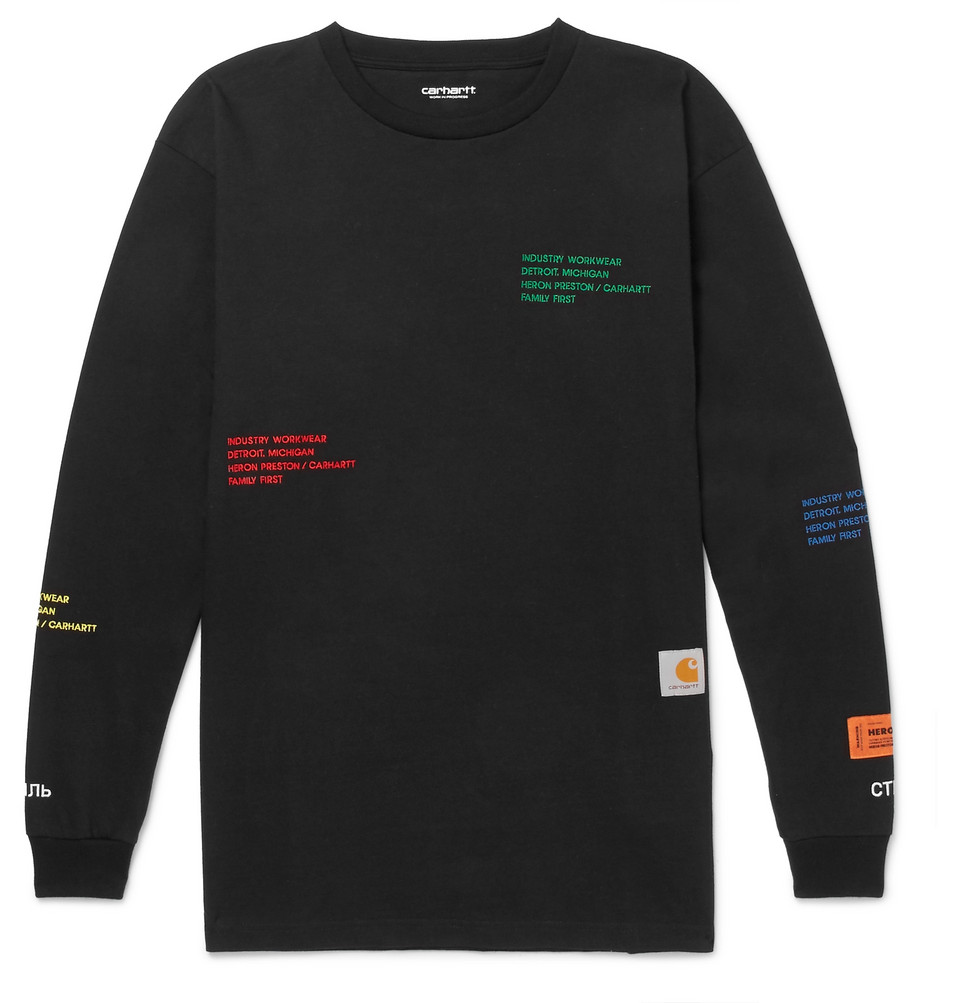 + Carhartt Oversized Embroidered Cotton-jersey T-shirt - Black