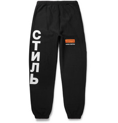 Heron Preston Tapered Printed Fleece-Back Cotton-Jersey Sweatpants