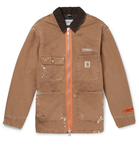 + Carhartt Oversized Corduroy Trimmed Distressed Cotton Canvas Jacket by Heron Preston