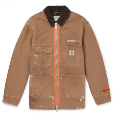 Heron Preston + Carhartt Oversized Corduroy-Trimmed Distressed Cotton-Canvas Jacket