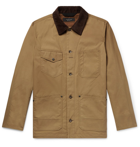 trimmed Suede amp; Rag Jacket cotton Colour block Bone Chore Tan Waxed FEqqz5w