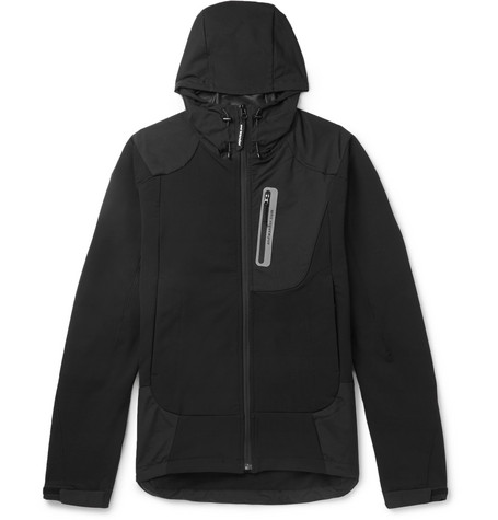 And Wander Reflective-Trimmed Fleece-Back Shell Hooded Jacket