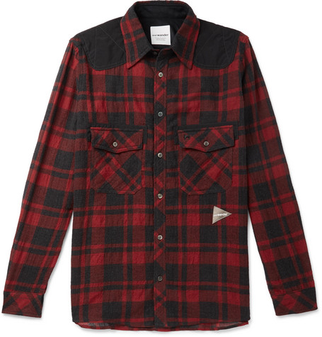 And Wander Shell-Panelled Checked Wool-Blend Shirt