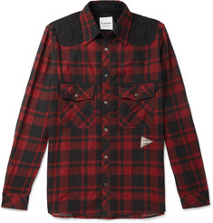 And Wander - Shell-Panelled Checked Wool-Blend Shirt