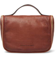 Brunello Cucinelli Burnished Full-Grain Leather Wash Bag