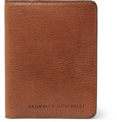 Brunello Cucinelli Burnished Full-Grain Leather Bifold Cardholder