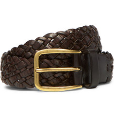 Brunello Cucinelli - 3cm Dark-Brown Woven Leather Belt