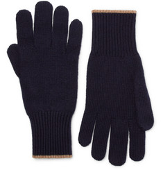 Brunello Cucinelli Contrast-Tipped Cashmere Gloves