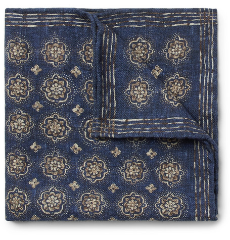 Printed Wool Pocket Square by Brunello Cucinelli