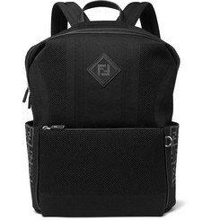 Fendi Leather-Trimmed Mesh Backpack