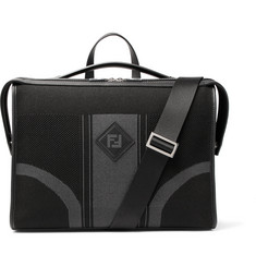 Fendi Leather-Trimmed Tech-Knit Briefcase
