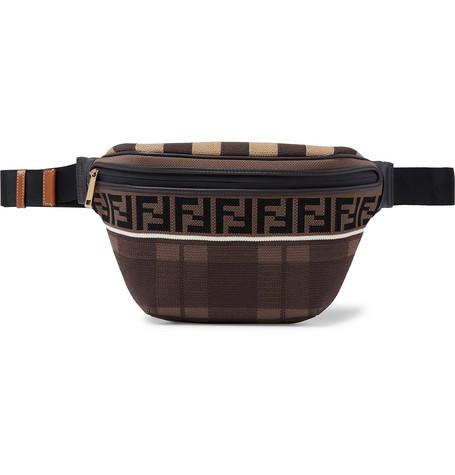 Leather-trimmed Logo-jacquard Mesh Belt Bag