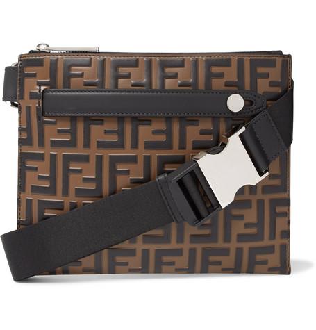 Logo-embossed Leather Messenger Bag