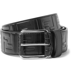 Fendi 4.5cm Black Logo-Embossed Leather Belt