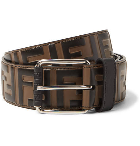 4.5cm Brown Logo Embossed Leather Belt by Fendi