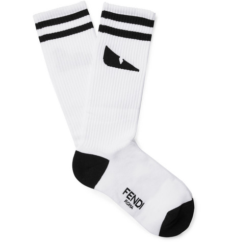 Intarsia Stretch Cotton-blend Socks - White