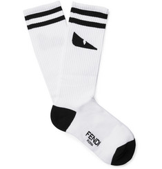 Fendi Intarsia Stretch Cotton-Blend Socks