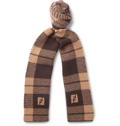 Fendi Logo-Jacquard Checked Wool Scarf