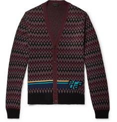 Prada Slim-Fit Logo-Intarsia Virgin Wool and Cashmere-Blend Cardigan