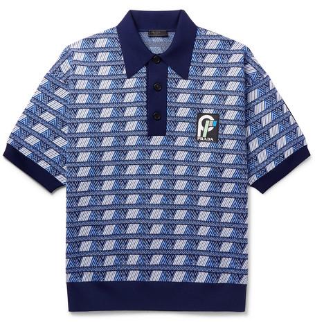 Logo Detailed Virgin Wool Blend Jacquard Polo Shirt by Prada