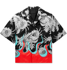 Prada Oversized Camp-Collar Printed Padded Nylon Shirt