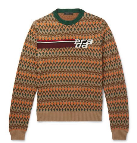 Slim Fit Logo Jacquard Fair Isle Virgin Wool And Cashmere Blend Sweater by Prada