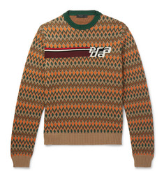 Prada Slim-Fit Logo-Jacquard Fair Isle Virgin Wool and Cashmere-Blend Sweater
