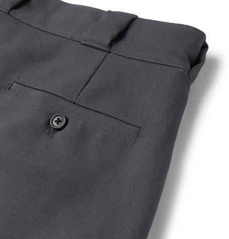 Wide Leg Logo Detailed Twill Shorts by Prada