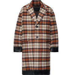 Prada - Oversized Rubber-Trimmed Checked Wool-Blend Coat