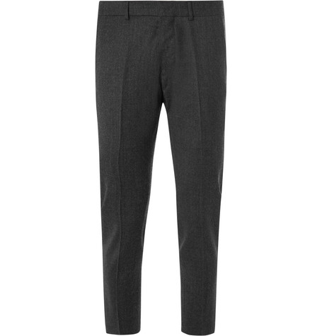 Cropped Slim Fit Wool Trousers by Ami