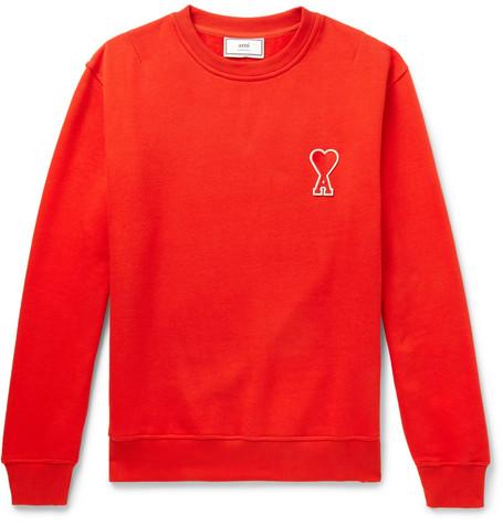 AMI – Logo-appliquéd Fleece-back Cotton-jersey Sweatshirt – Red