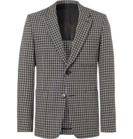 Slim Fit Checked Wool And Cotton Blend Blazer by Ami