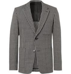 아미 슬림핏 체크 울 혼방 자켓 AMI Slim-Fit Checked Wool and Cotton-Blend Blazer,Gray