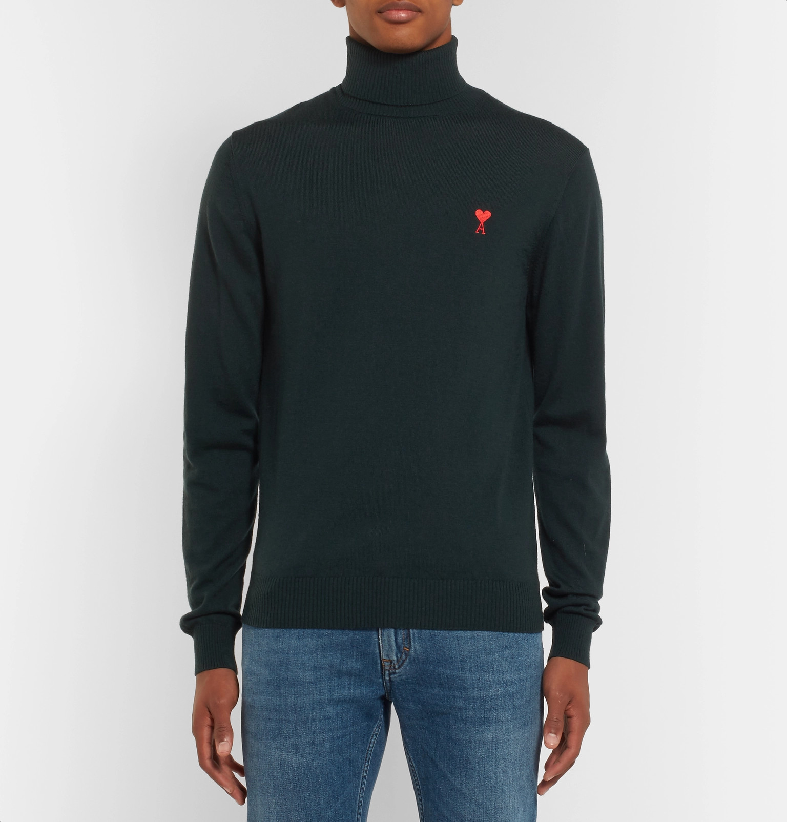 Rollneck Logo Fit Wool Embroidered Merino Slim Ami Sweater Y1gqw8aY