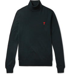 AMI Slim-Fit Logo-Embroidered Merino Wool Rollneck Sweater