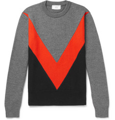 AMI Panelled Merino Wool Sweater