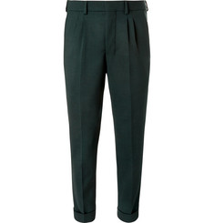 AMI Tapered Pleated Twill Trousers