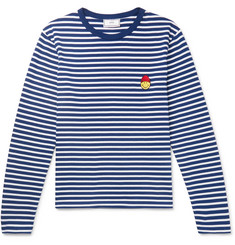 AMI + The Smiley Company Appliquéd Striped Cotton T-Shirt