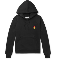 AMI + The Smiley Company Appliquéd Loopback Cotton-Jersey Hoodie
