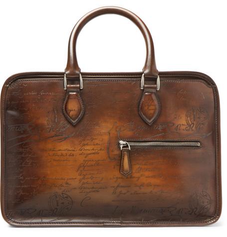 Berluti – Un Jour Mini Scritto Leather Briefcase – Brown