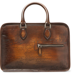 Berluti Un Jour Mini Scritto Polished-Leather Briefcase