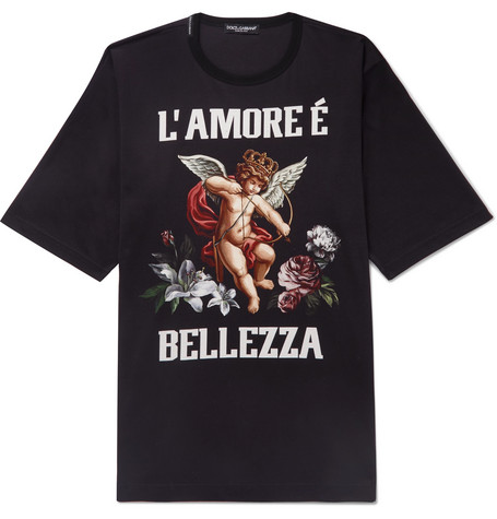 Oversized Printed Cotton Jersey T Shirt by Dolce &Amp; Gabbana