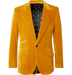 Dolce & Gabbana Ochre Slim-Fit Stretch-Cotton Velvet Blazer