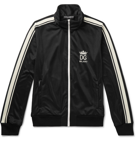 Logo Embroidered Striped Tech Jersey Track Jacket by Dolce & Gabbana
