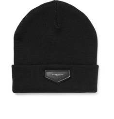 Givenchy Leather-Appliquéd Wool-Blend Beanie