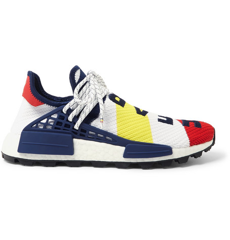 ADIDAS CONSORTIUM + Billionaire Boys Club Hu Nmd Embroidered Primeknit Sneakers in White