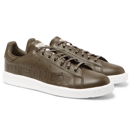 check out 5c046 26068 Adidas Consortium + Neighborhood Stan Smith Leather Sneakers - Army Green