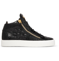 Giuseppe Zanotti Logoball Croc-Effect Leather High-Top Sneakers